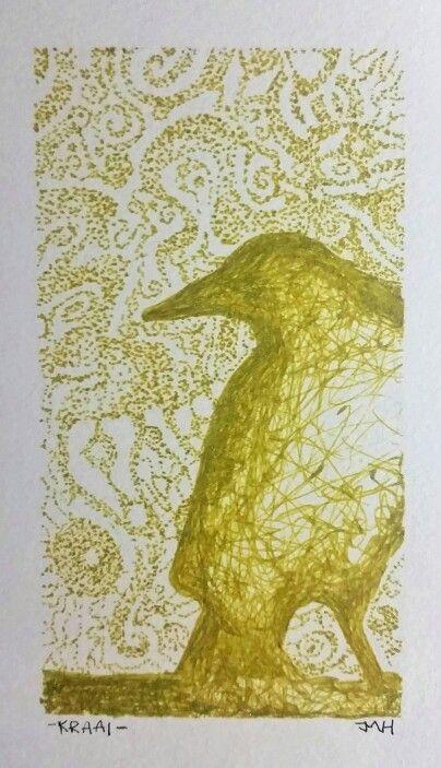 Crow Zentangle with gold pen  JMVH