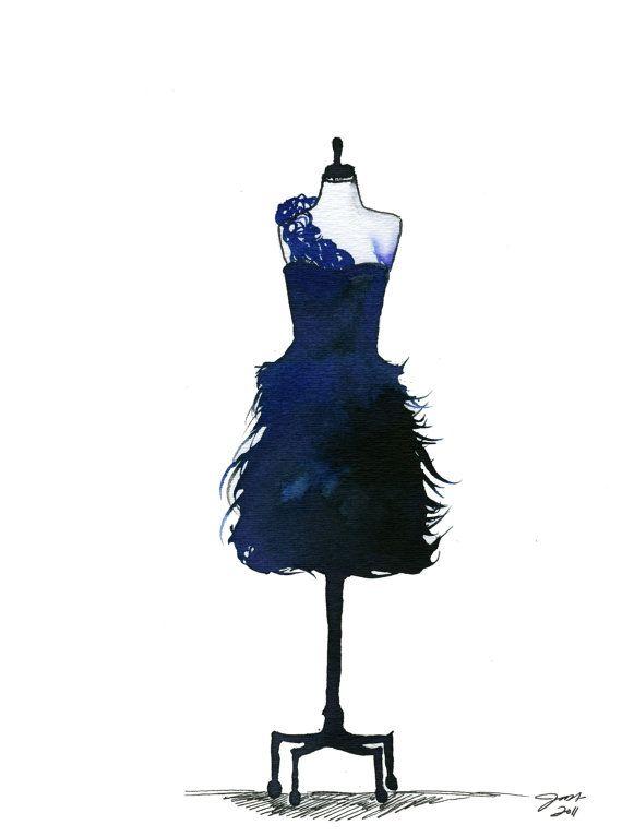 Watercolor Fashion Illustration - Blue Midnight Dress print