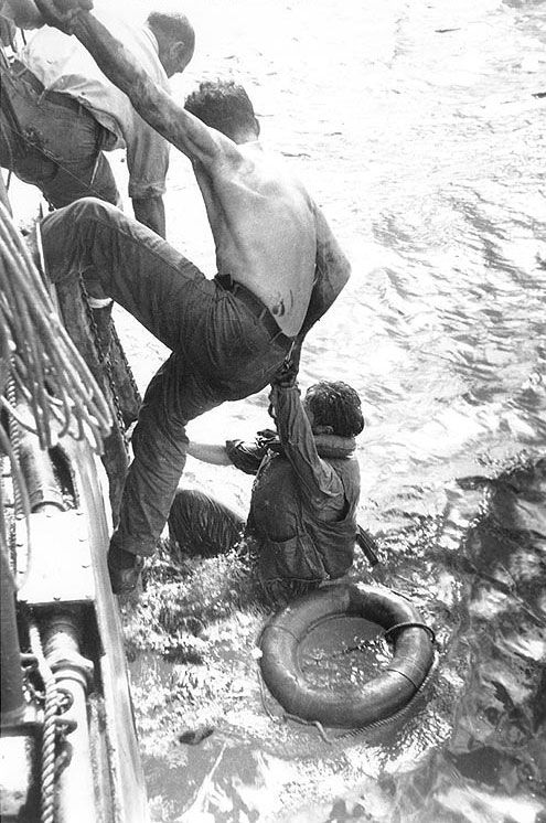 American survivors of the Battle off Samar rescued by a US Navy ship on 26 Oct 1944. (US National Archives)