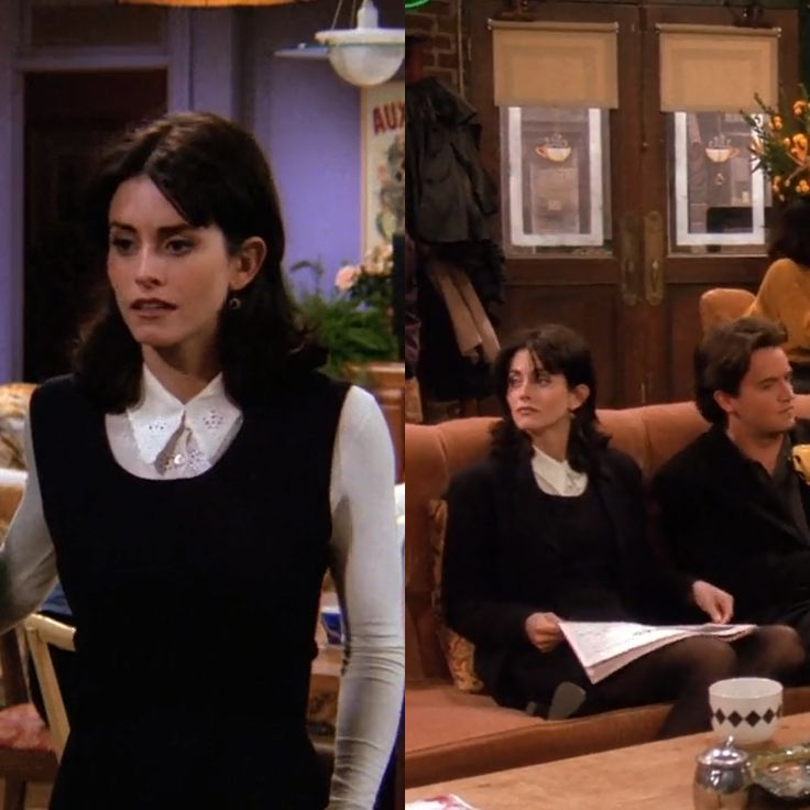 Courtney Cox as Monica Geller on Friends, Episode 1.13 (The One With The Boobies). Wearing: White Lace Collar Button-Down Shirt | Black Sleeveless Dress | Black Tights.