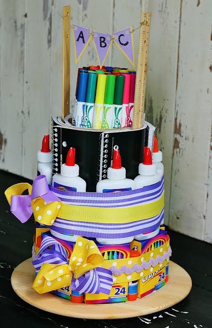 School Supply Cake.. Perfection for a locker organizer too high school / middle school!!