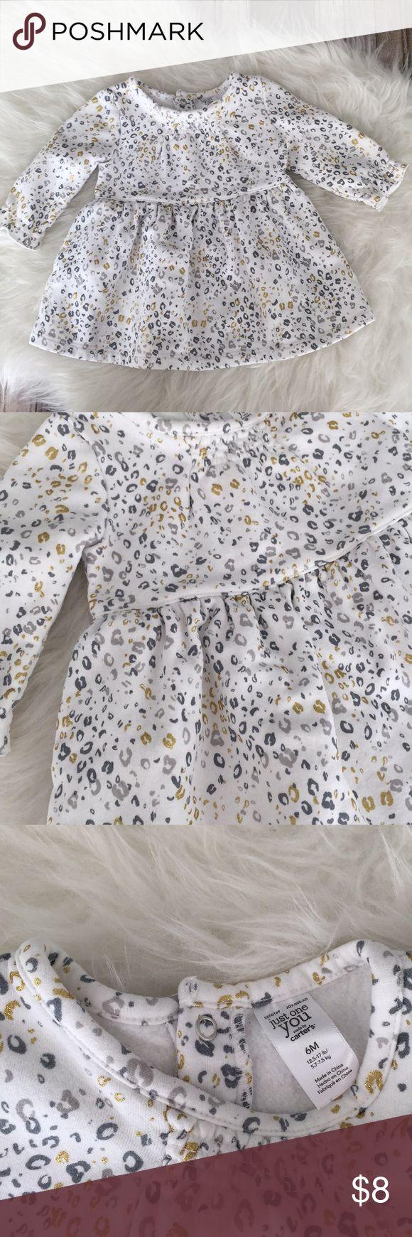 Girls gold metallic cheetah dress. Infant cheetah Good used condition, no bloomers Carter's Dresses