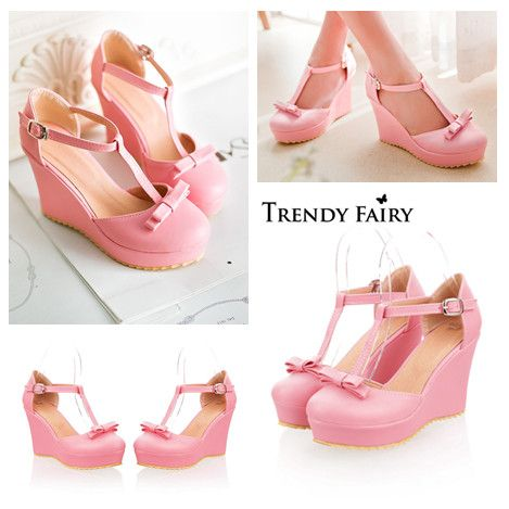 Kode : AWF-374, Nama : Cutie Small Bow Pink Wedges, Price : IDR 175