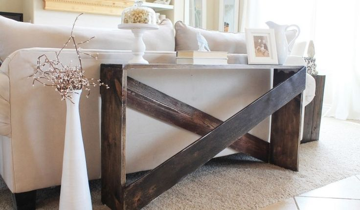 schmaler Konsolentisch aus Holzbrettern selber machen