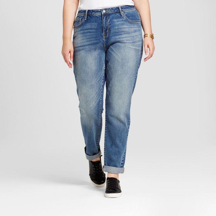 Women's Plus Size Boyfriend Jeans - Ava & Viv Dark Wash 24W, Blue
