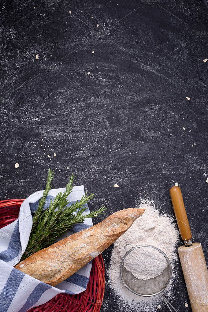 Whole wheat baguette & rosemary by Iuliia Leonova on @creativemarket