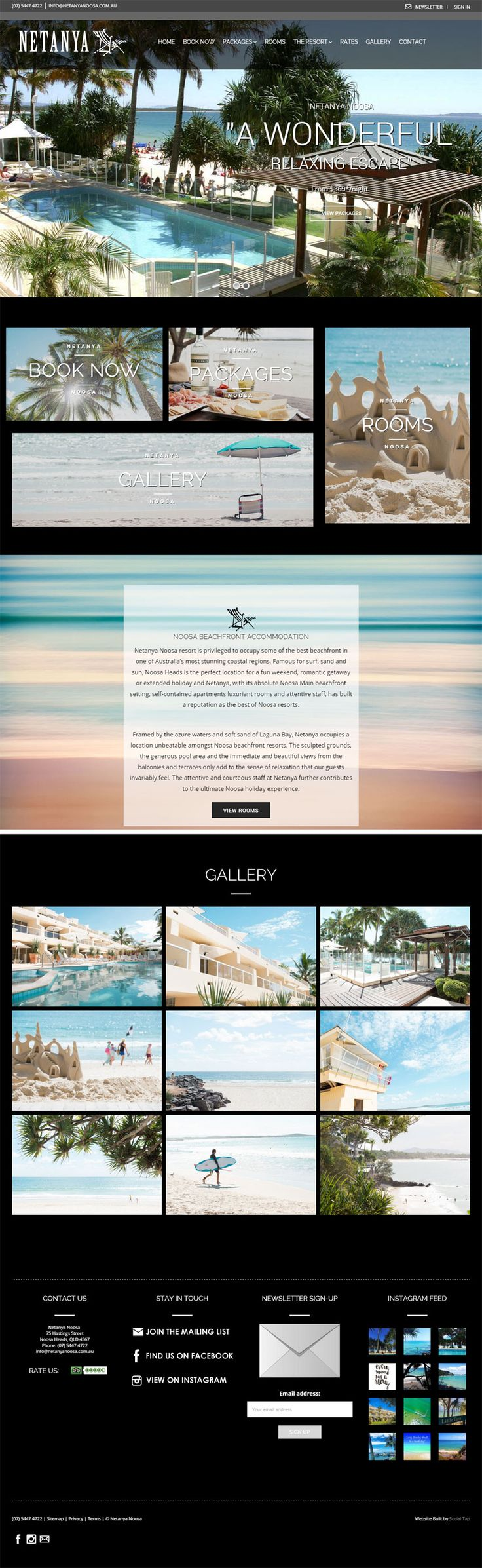 Website design for Netanya Resort and Accommodation in Noosa QLD, Australia. Websites for Hospitality, Tourism, Food & Wine designed & built by SocialTap.com.au