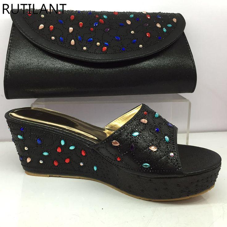 Zapatos de boda negro y conjunto de bolsos decorado con zapatos de diamantes de imitación de nigeriano y conjunto de bolsas para los zapatos de las damas italianas del partido y conjuntos de bolsas (China (continental))