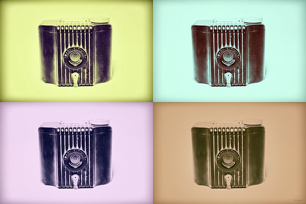 Baby Brownie Camera Four Panel Art Deco Prin - tBaby Brownie is a small, basic film camera (art deco style), made of Bakelite with a flip-up frame viewfinder. The shutter is operated by the lever under the lens. The camera was manufactured from 1934 to 1941 in the USA and from 1948 to 1952 in the UK.