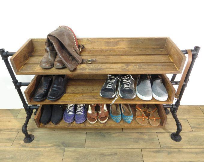 Industrial Pipe Shoe Rack, Shoe Storage, Handmade Shoe Organizer, Black  Iron Pipe Entryway
