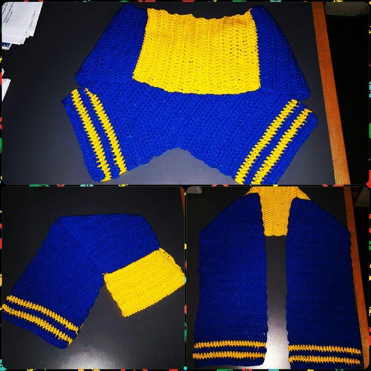 Bufanda tejida al crochet - BOCA JRS.