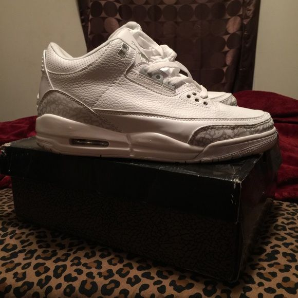 Pure money white Jordan 3's size 9.5 Brand new only worn twice, GREAT condition! Jordan Shoes Sneakers
