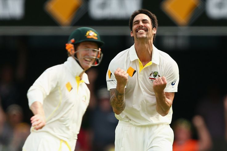 Australia's Mitchell Johnson Humiliates England: First Ashes Test, Day Two, In Pictures - BRISBANE, AUSTRALIA - NOVEMBER 22: Mitchell Johnson of Australia celebrates dismissing Graeme Swann of England during day two of the First Ashes Test match between Australia and England at The Gabba on November 22, 2013 in Brisbane, Australia. (Photo by Cameron Spencer/Getty Images)