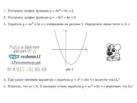 Как определить знаки коэффициентов квадратичной функции по её графику. Задания на свойства и графики квадратичной функции вызывают, как показывает практика, серьезные затруднения. А между тем, в ГИА предлагают именно по графику определить знаки коэффициентов. На рисунке изображен график - Школьные Знания.