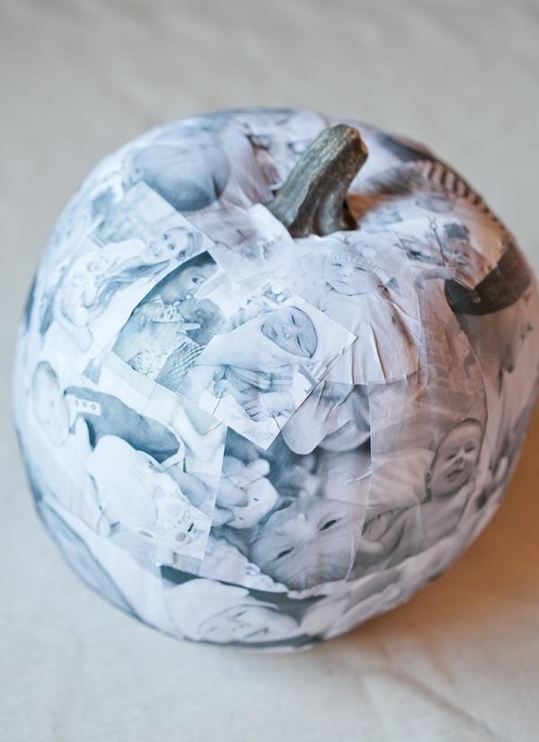 DIY Pumpkin Crafts : DIY decoupage photo pumpkin