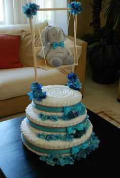 Baby Shower Bow Tie Theme turquoise and gray, Elephant Diaper Cake. Baby Boy. Created by Cyd Haltom