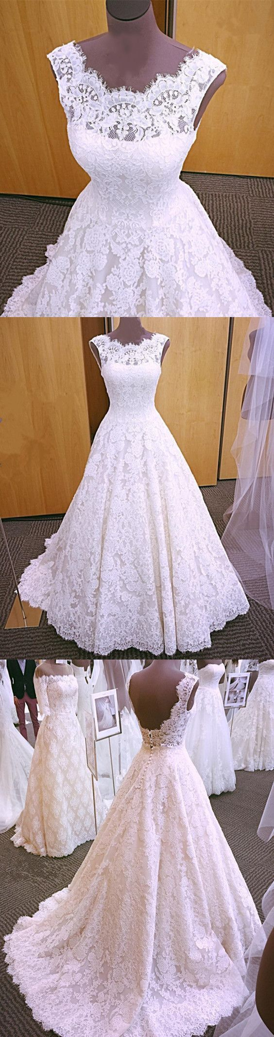 Modest Lace Cap Sleeves Open Back Princess Wedding Dresses For Bride #laceweddingdresses