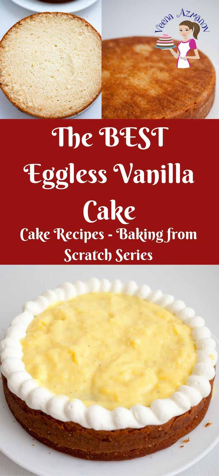 This eggless vanilla cake is moist with a firm texture but soft crumb. It taste absolutely delicious on it's own and can be used to carve into a novelty cake with ease. A versatile cake that can be tweaked to make many different flavors and combinations. via @Veenaazmanov