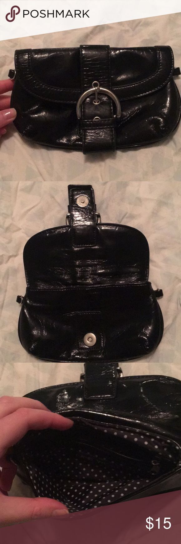 Black Patent Nine West Clutch Crackled black patent leather with black and white polka dot cloth interior. No visible marks to interior, some creasing of exterior due to storage. Has hooks for strap, not included. Magnetic closure. Nine West Bags Clutches & Wristlets