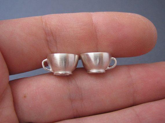 Teeny Teacup studs  silver by juliecannonjewellery on Etsy, $79.00