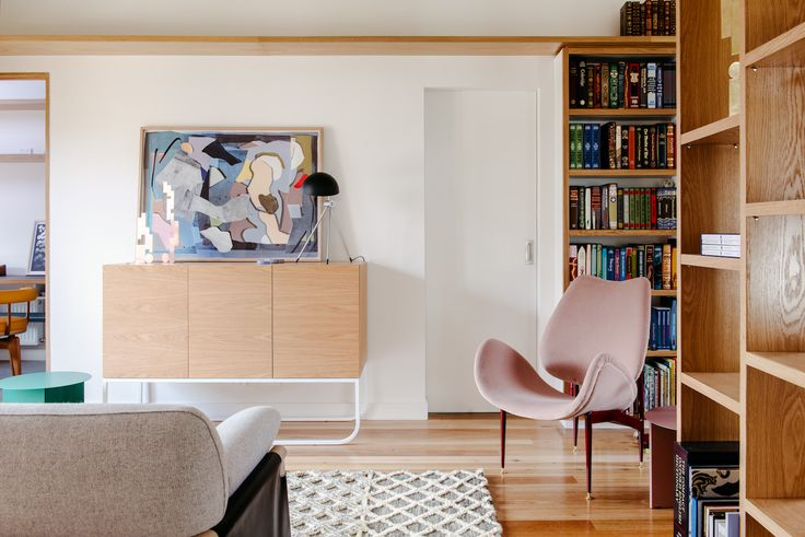 Kate Tucker 'Hard Mix' in a beautiful home designed by Nest Architects and photographed by Lauren Bamford.    This work available at www.versioneditions.com  Sculptures by Meredith Turnbull from Daine Singer. New York sideboard and Featherston Scape armchair from Grazia and Co. Lamp by Hans S Jakobsen, sofa and side table from Cult. Rug from Loom Rugs.