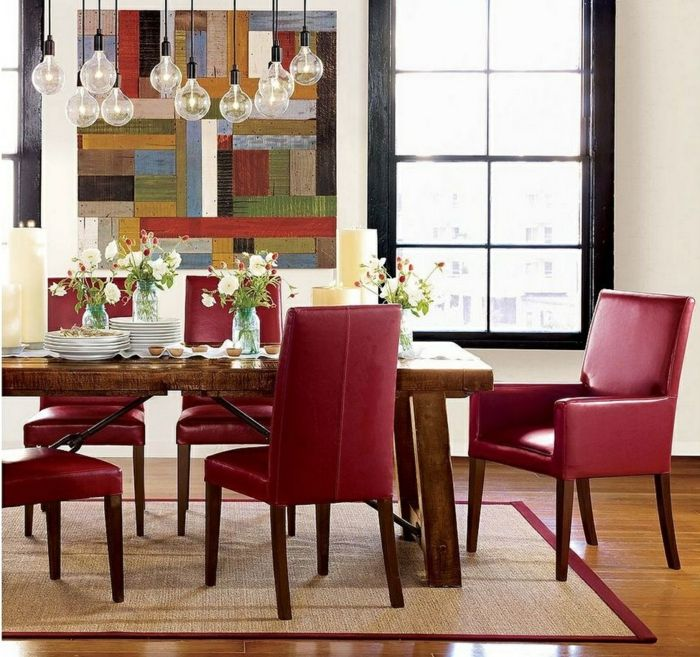wandgestaltung ideen esszimmer rote sthle pendelleuchten teppich - Hervorragendes Rotes Esszimmer Design