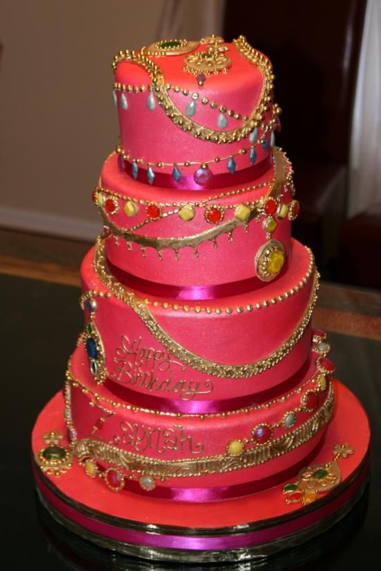 Jewel Cake-This cake was created for a birthday party with a jewelry theme. Everything on this cake is edible!