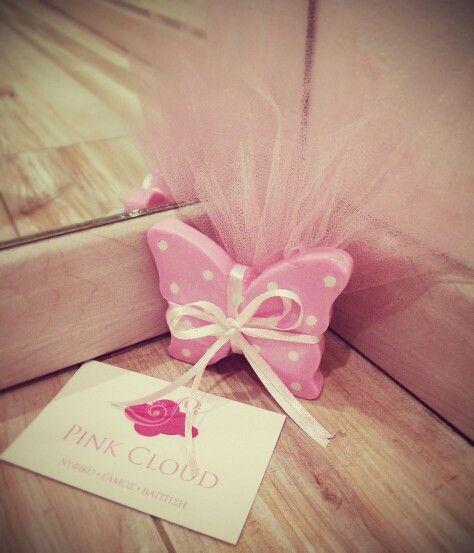 Μπομπονιερα#βαπτισης#pink cloud#κοριτσι#πεταλουδα#σαπουνακι
