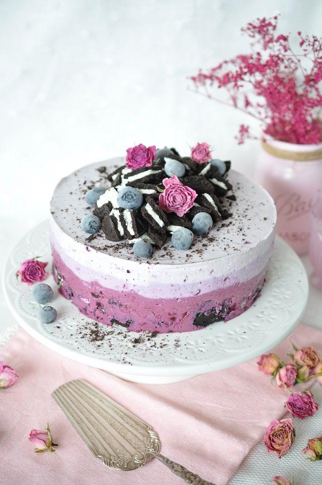 No-bake Oreo Blueberris Ombre Cake