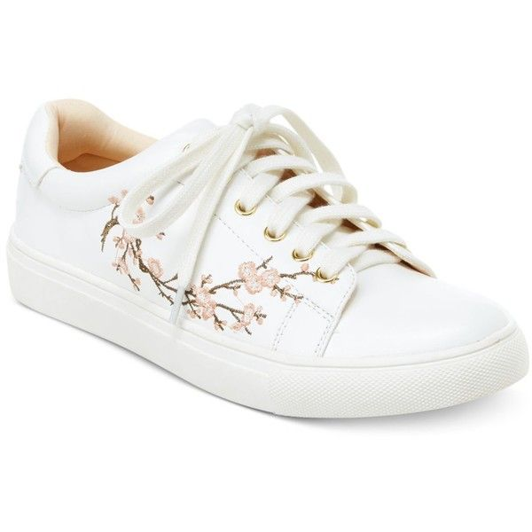Nanette by Nanette Lepore Winona Blossom Lace-Up Sneakers ($59) ❤ liked on Polyvore featuring shoes, sneakers, white, platform sneakers, lace up sneakers, white platform shoes, flower sneakers and platform lace up shoes