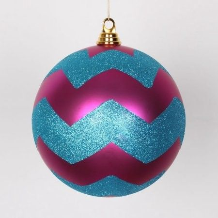 Cerise Pink Matte w/ Turquoise Blue Glitter Chevron Commercial Size Christmas Ball Ornament 8' (200mm)