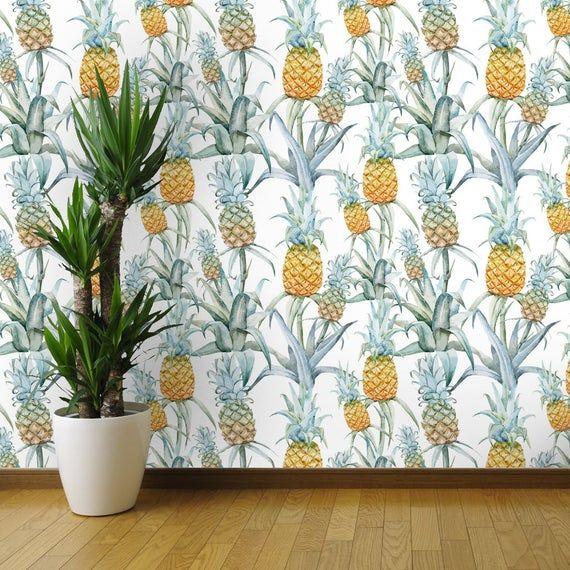 Pineapple Watercolor Palm Pattern Fruit Wallpaper Watercolor Etsy Watercolor Pineapple Fruit Wallpaper Self Adhesive Wallpaper