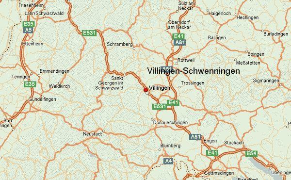 Villingen-Schwenningen Location Map Freiburg Region, Baden-Württemberg Region, Germany