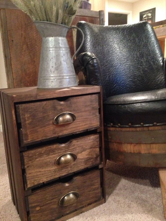 Perfect Wood Wine Crate Side Table   End Table   Farmhouse Furniture