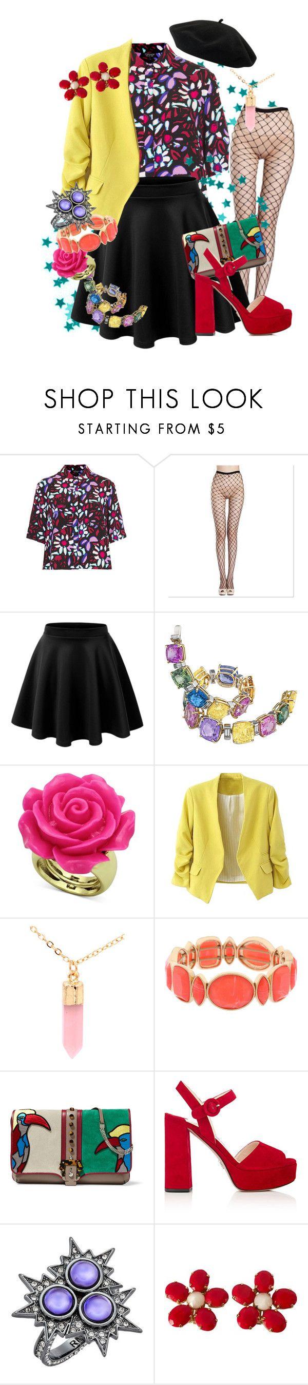 """Yellow Blazer Outfit"" by mongryong ❤ liked on Polyvore featuring Topshop, Silver Rain, Monet, Paula Cademartori, Prada, Rebecca Minkoff, Schreiner and Goorin"