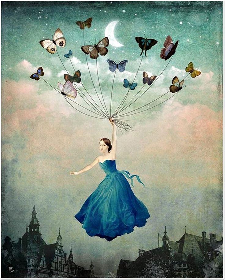 The Beautiful Art of Christian Schloe   blue butterflies