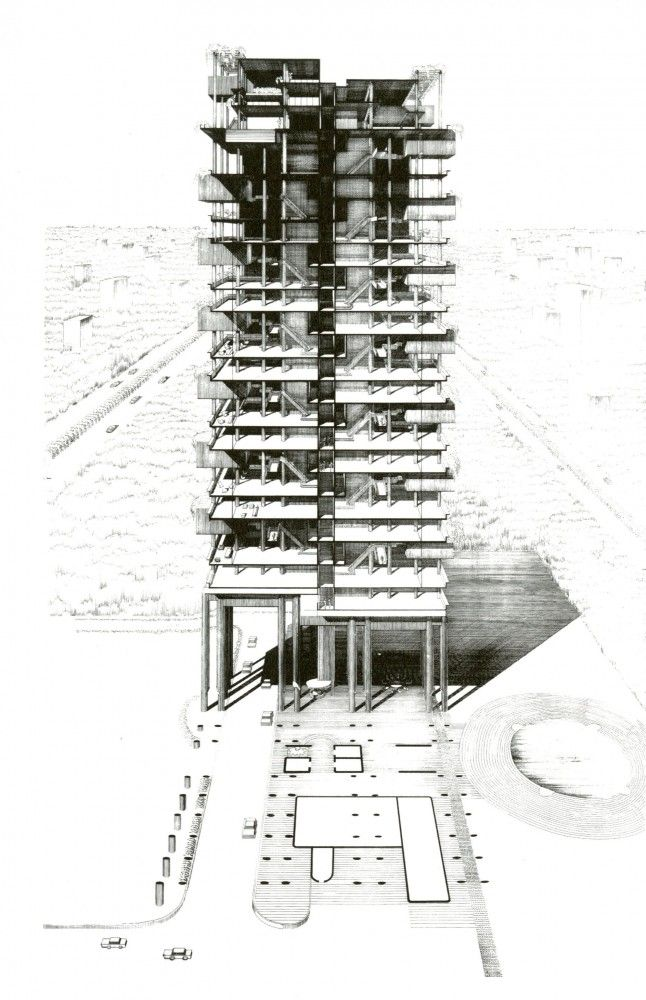Sectional Perspective of the Colonnade Condominiums by Paul Rudolph