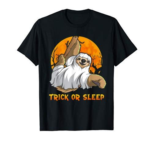 Sloth Ghost Trick Or Sleep | Funny Sloth Lover Halloween T Shirt Men