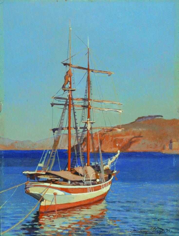 """Llewelyn Lloyd (Livorno 1879 – Firenze 1949), """"Barca al tramonto"""", !936. olio su tavola"""