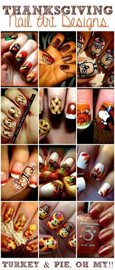 Thanksgiving Nail Art Designs! Cute nail ideas for Thanksgiving.