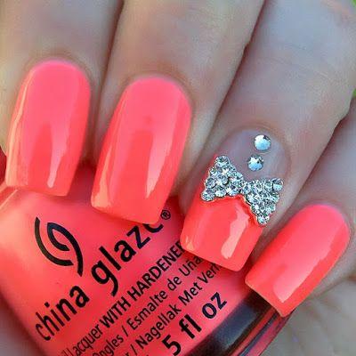 Nails Nails Nails: Nail Art Review.-Adding jewels to a beautiful coral nail