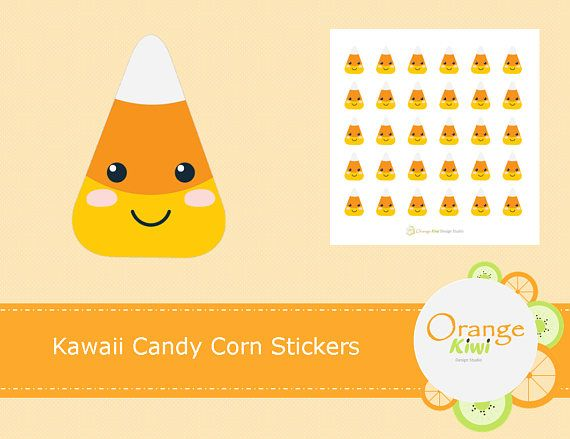 Kawaii Candy Corn Stickers, Halloween Stickers, Fall Planner Stickers