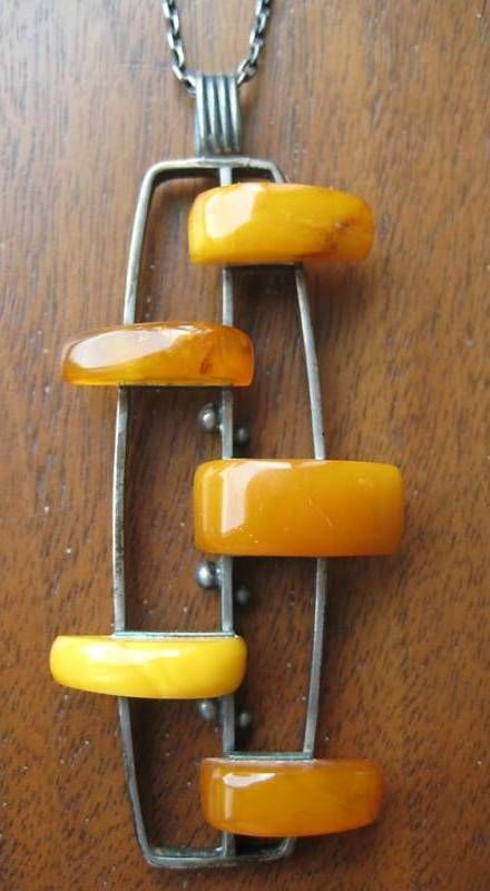 ABSTRACT MODERNIST STERLING AMBER NECKLACE PENDANT