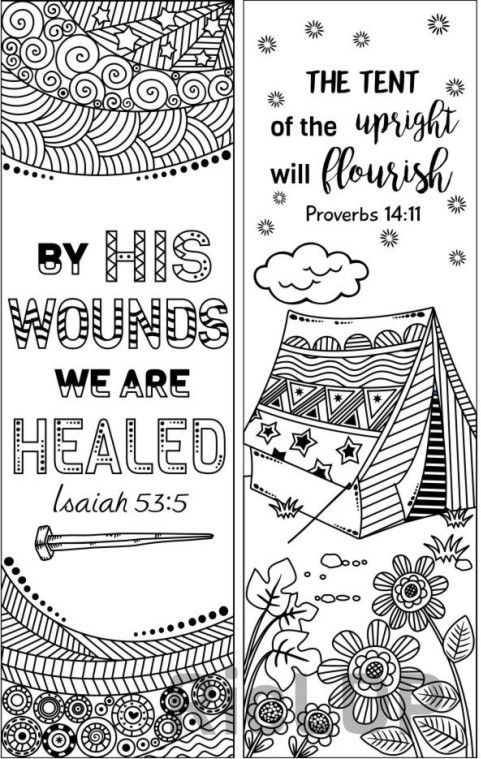 Set Of 8 Bible Verse Coloring Bookmarks Bookmark Doodles