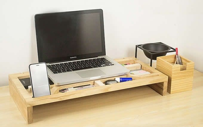 Wooden Computer Monitor Stand Riser Laptop Stand And Desk Organizer With Keyboard Storage Desk Organization Monitor Stand Laptop Stand