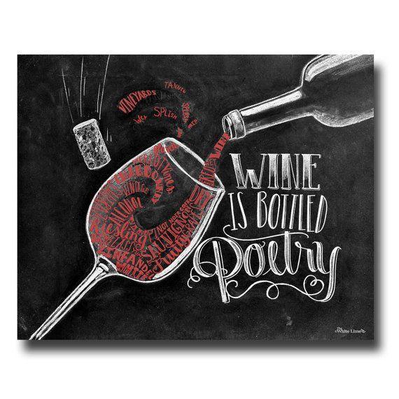 Vin Art tableau Art amateur de vin vin oeuvre par TheWhiteLime