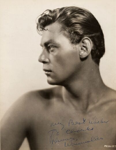 Johnnie Weissmuller as Tarzan. , He was one of the world's best swimmers in the 20's, winning five Olympic gold medals and one bronze medal. He won fifty-two US National Championships and set sixty-seven world records.