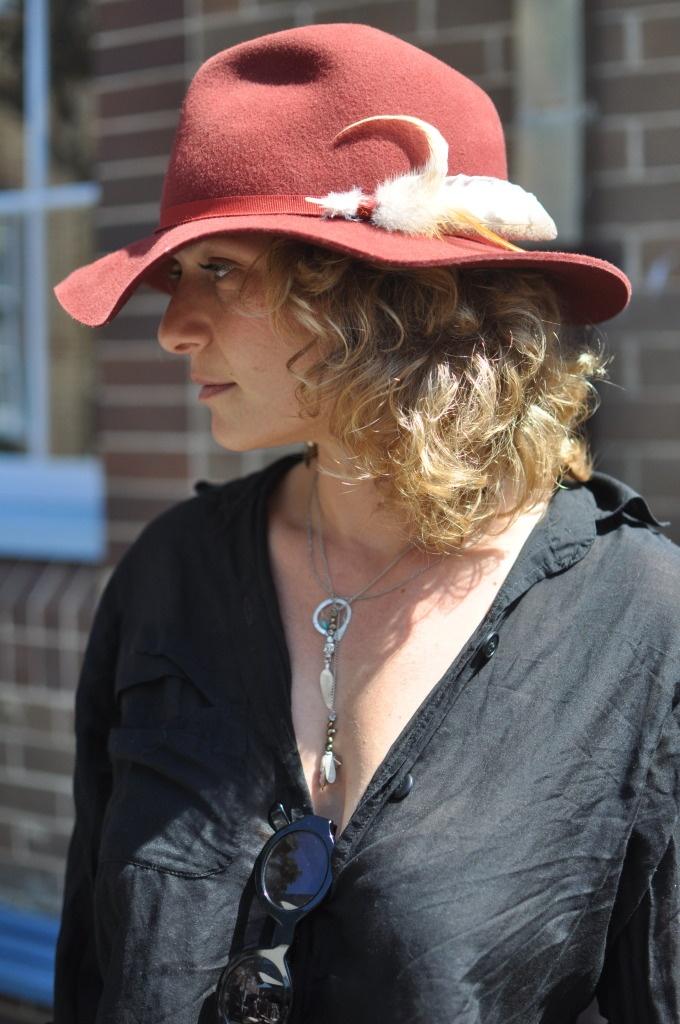 Owl feather in her cap...Bondi Markets Sydney