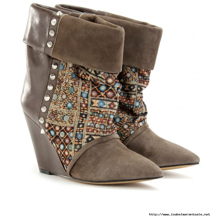 Isabel Marant Kate Suede Print Corduroy and Leather Wedge Ankle Boots