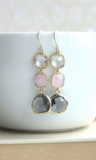 Blush Pink Earrings. Pink Opal Ice Pink, Gold Framed Grey Glass Drop Dangle Earrings. Pink and Grey Wedding By Marolsha.